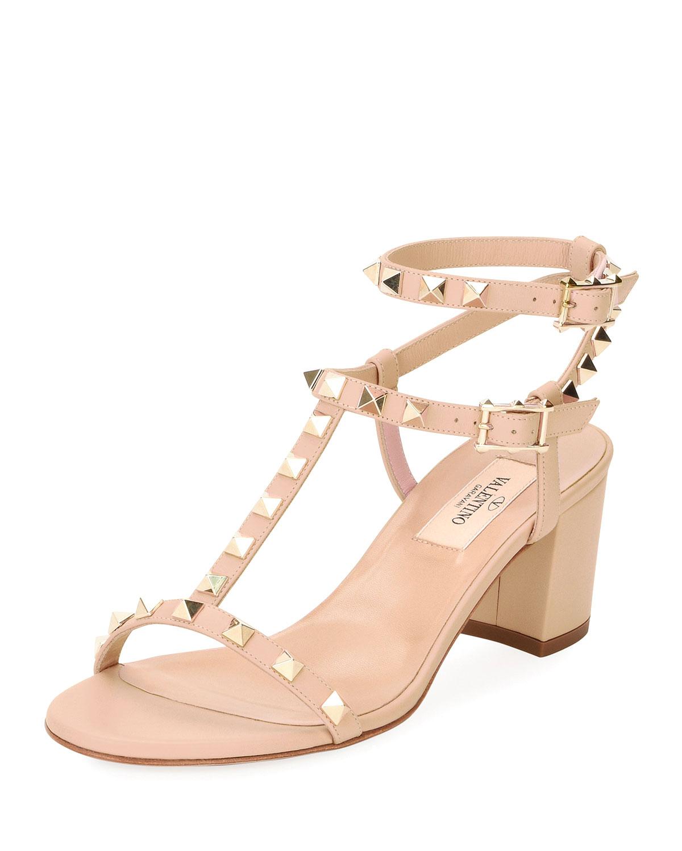 bcfe1645e8 Valentino Garavani Rockstud Leather Low-Heel Sandal, Nude | Neiman ...