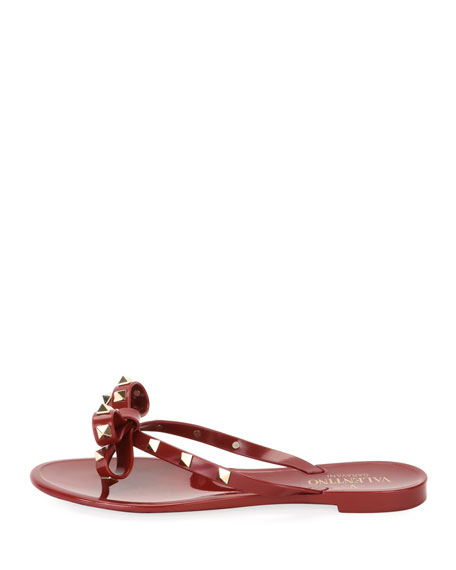 Jelly Rockstud Flat Thong Sandal, Dark Red