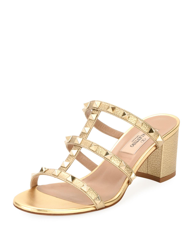 758501d9a8f Valentino Garavani Rockstud Metallic Mule Sandal