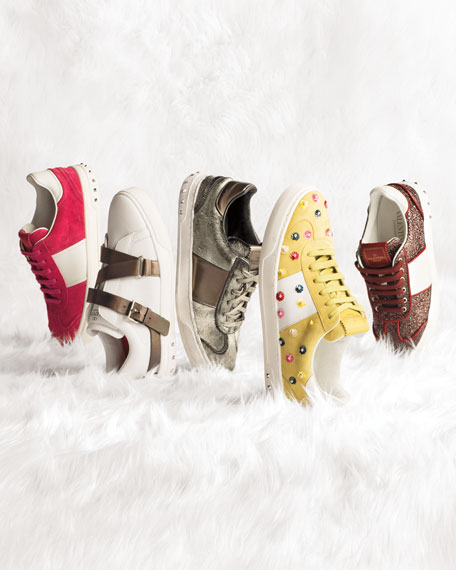 Suede Floral-Stud Low-Top Sneakers, Multi