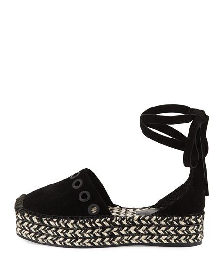 Ariela Wrap-Tie Espadrille Flat, Black
