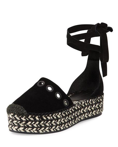 Kendall + Kylie Ariela Wrap-Tie Espadrille Flat, Black
