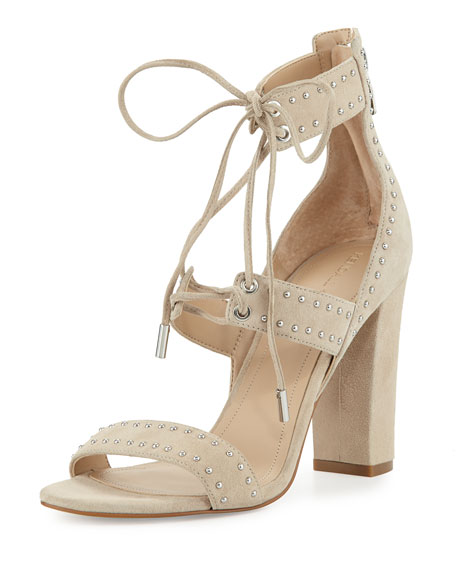 Dawn Studded Strappy Sandal, Light Natural