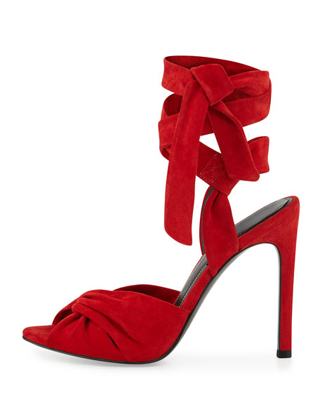 Delilah Suede Ankle-Wrap Sandal, Medium Red