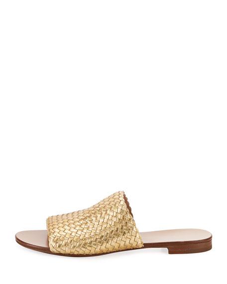 Byrne Metallic Woven Flat Slide Sandal, Gold
