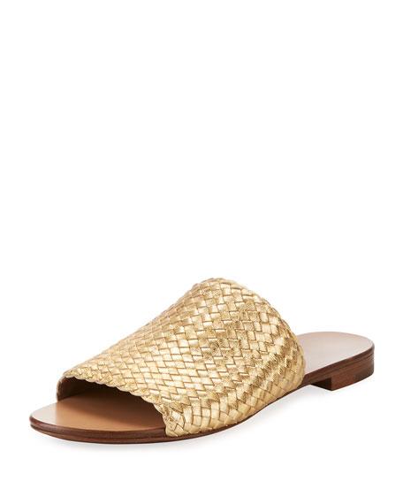 Michael Kors Byrne Metallic Woven Flat Slide Sandal,