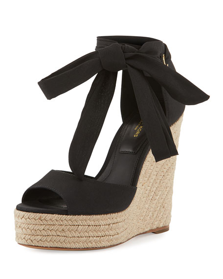 Michael Kors Embry Ankle-Wrap Wedge Sandal, Black