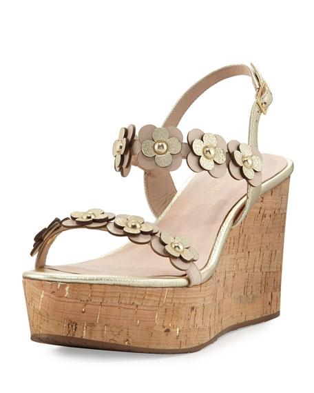 kate spade new york tisdale cork wedge sandal, neutral