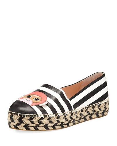 lincoln striped flat espadrille, black