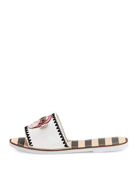 inyo leather flat slide sandal, white