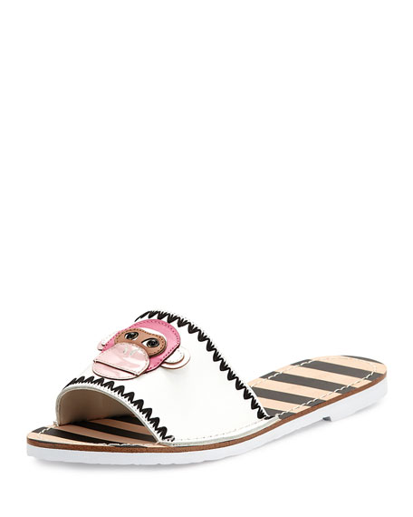 inyo leather flat slide sandal, white