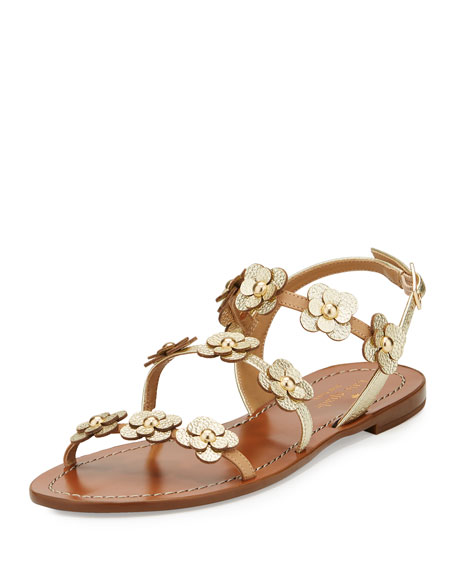 colorado floral leather flat sandal, neutral