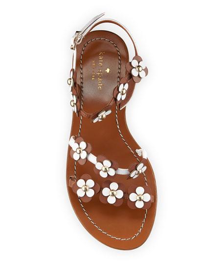 colorado floral leather flat sandal, luggage