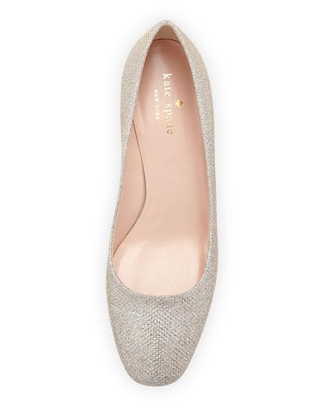 dolores metallic mid-heel pump, silver