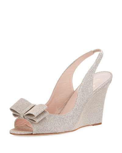 irene slingback metallic wedge pump, silver