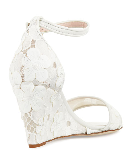 roosevelt lace wedge sandal, off white