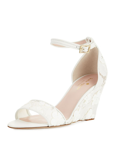kate spade new york roosevelt lace wedge sandal, off white