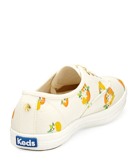 x Keds kick orange-print lace-up sneaker, multi