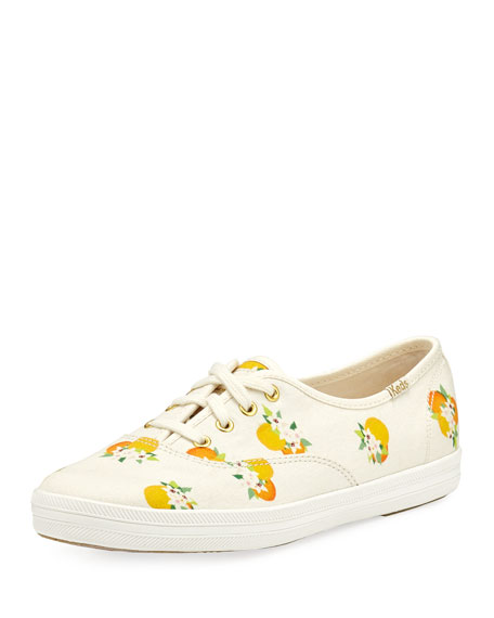 x Keds kick orange-print lace-up sneaker, multi