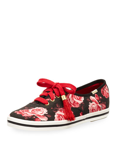 x Keds kick rose-print lace-up sneaker, multi