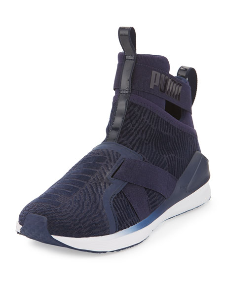 Puma Fierce High-Top Strap Flocking Sneaker, Blue