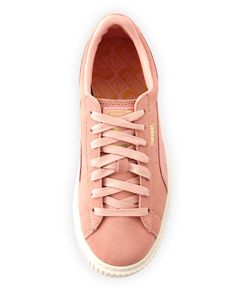 Suede Platform Lace-Up Sneakers, Pink