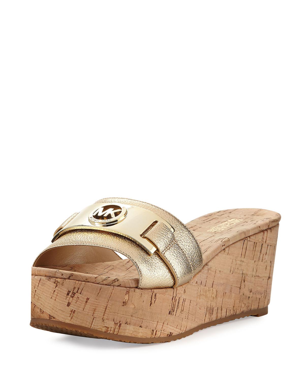 792046d9937 MICHAEL Michael Kors Warren Platform Cork Wedge Slide Sandal