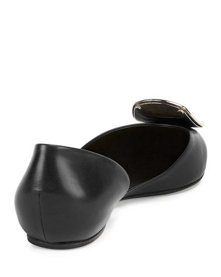 Sexy Choc Leather Ballerina Flat, Black