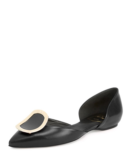 Roger Vivier Sexy Choc Leather Ballerina Flat, Black