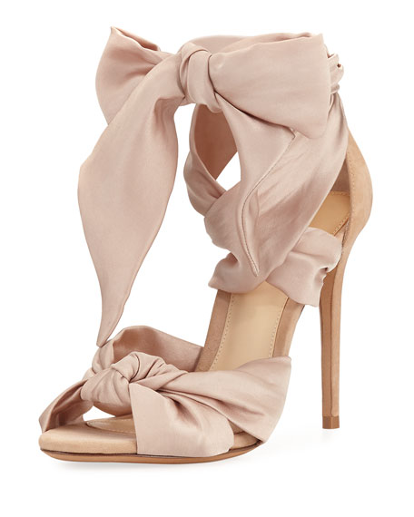 Katherine Knotted Satin & Suede Sandals, Neutral