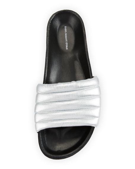 Hellea Metallic Slide Sandal, Silver