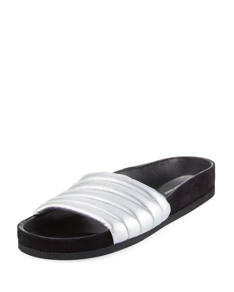 Isabel Marant Hellea Metallic Slide Sandal, Silver