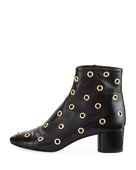 Danay Studded Block-Heel Booties, Black