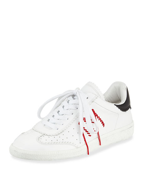 Isabel Marant Bryce Side-Stitch Low-Top Sneaker, White/Black