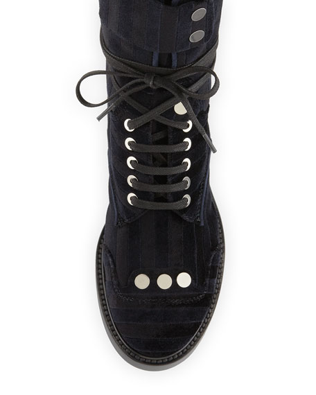 Striped Velvet Lace-Up Combat Boot, Black