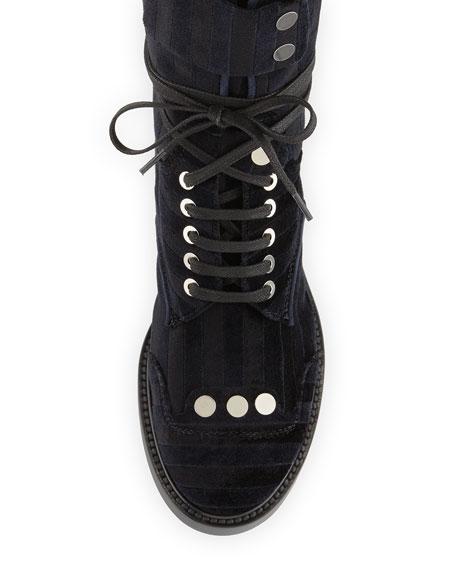 Striped Velvet Lace-Up Combat Boot, Black