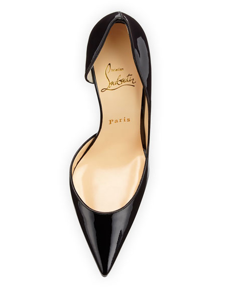 Iriza Patent Open-Side Red Sole Pump, Black
