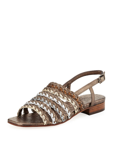Sesto Meucci Goldie Woven Flat Sandal, Pewter Multi