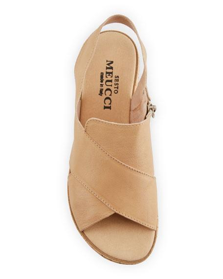 Sabita Demi-Wedge Flat Sandal, Beige