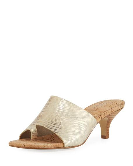 Donald J Pliner Reo Viper-Print Slide Sandal, Gold
