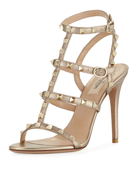 Valentino Garavani Rockstud Metallic Leather 105mm Sandal