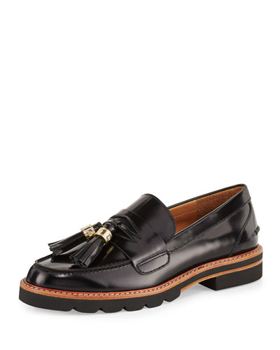 Manila Leather Tassel Loafer, Jet Black