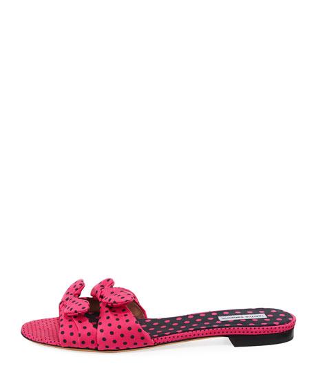 Cleo Polka-Dot Bow Flat Slide Sandals, Pink/Black