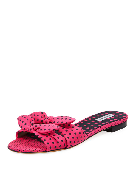 Tabitha Simmons Cleo Polka-Dot Bow Flat Slide Sandals,