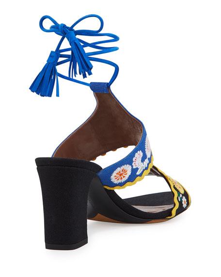 Thais Embroidered Ankle-Wrap Sandal, Black/Marine