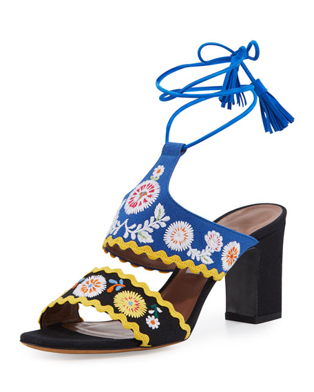 Thais Embroidered Ankle-Wrap Sandal, Black/Marine