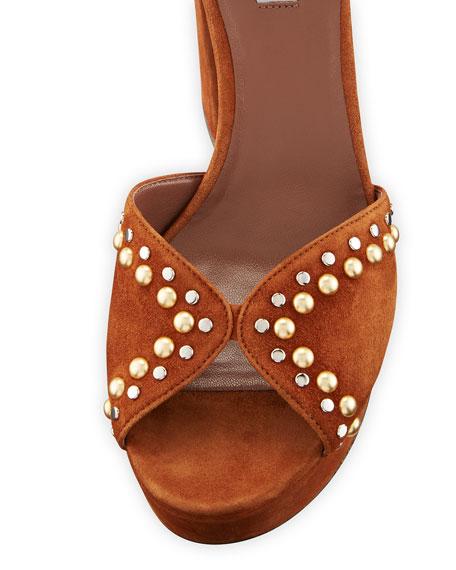 Julieta Studded Platform Suede Sandals, Cognac