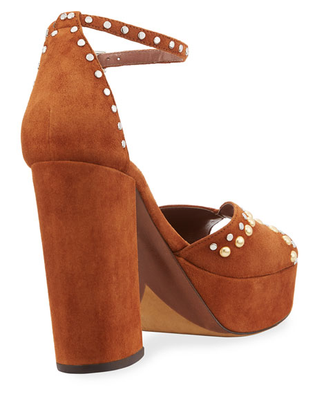 Julieta Studded Platform Suede Sandal, Cognac