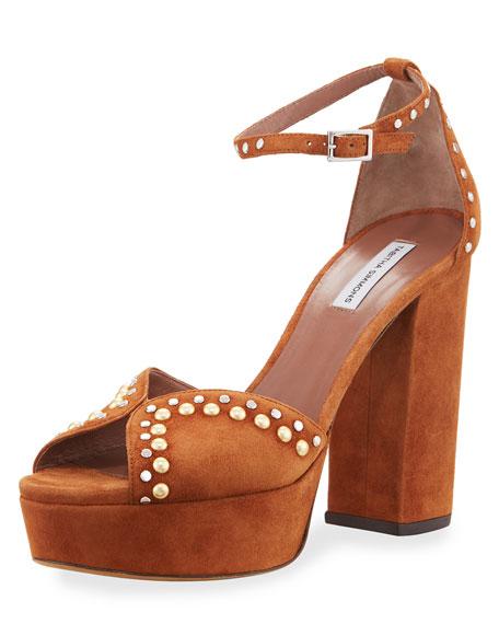Tabitha Simmons Julieta Studded Platform Suede Sandals, Cognac