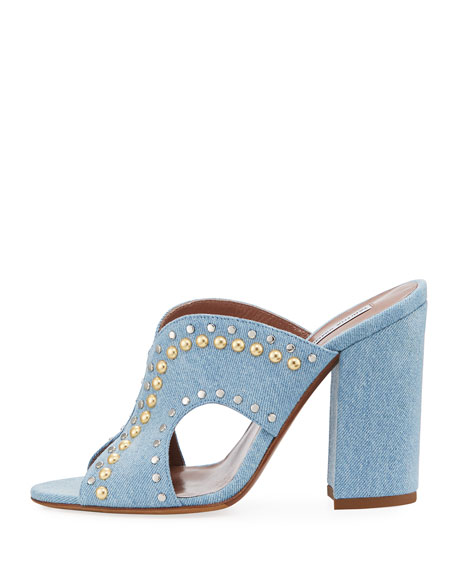 Celia Studded Denim Mule Sandals, Denim Jeans